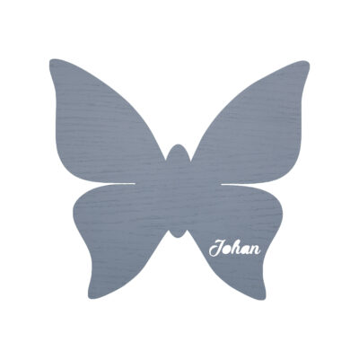 Grå sommerfugl lampe med navn