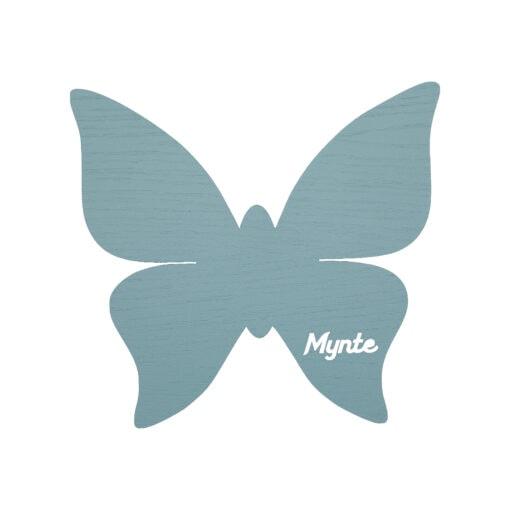 Blå sommerfugl lampe med navn til børneværelset