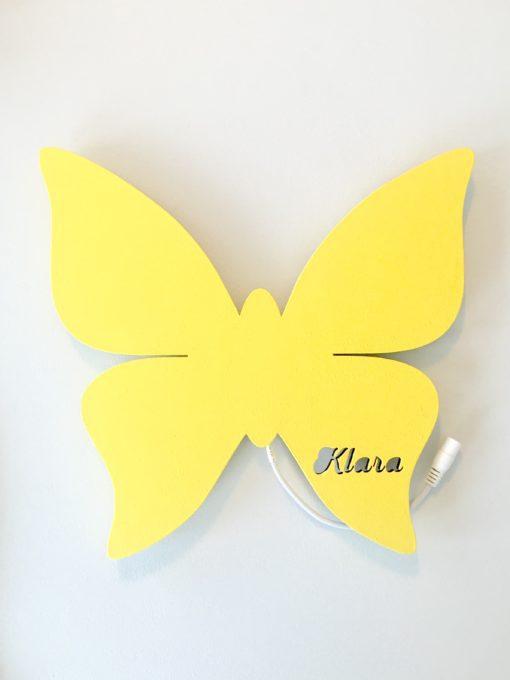 Sommerfugl lampe med navn gul