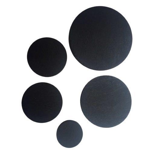 5 runde knager i sort.