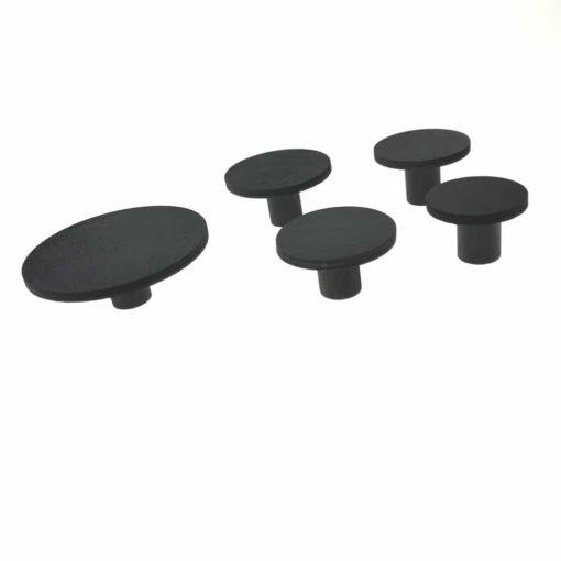 5 runde knager set fra siden i sort model