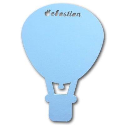 alm luftballon lampe med navn i lyseblå