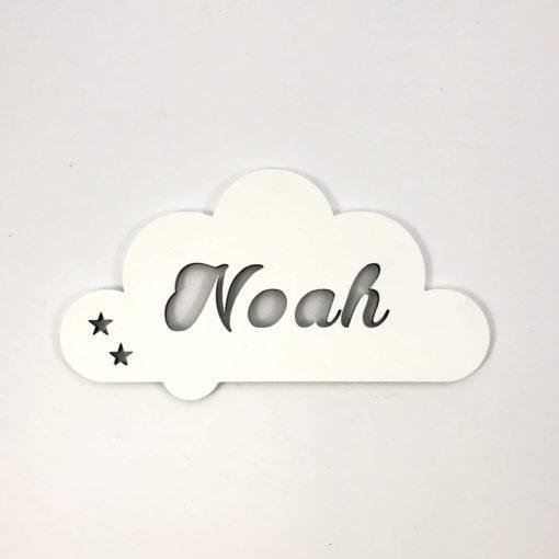 Sky navne skilt med Noah skåret ud og malet hvid