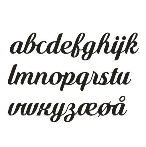 Eksempel på bogstaver til navneskilt