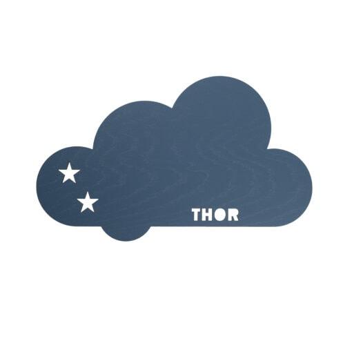 Blå stjerne sky lampe med navn til børneværelset
