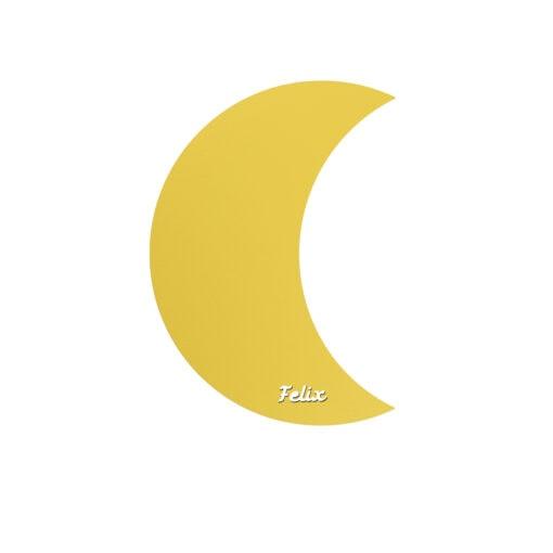 Lyserød måne lampe med navn til børneværelse