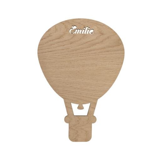 Luftballon lampe i træ med navn