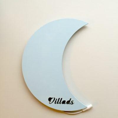 Måne lampe med navn lyseblå