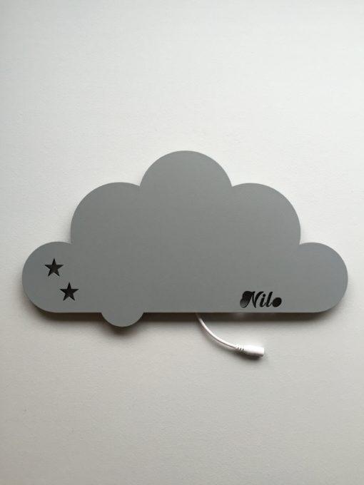 Sky lampe med navn grå