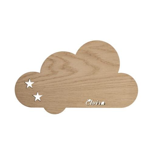 Sky lampe i træ med stjerner og navn