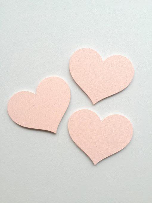 3 stk lyserøde hjerter