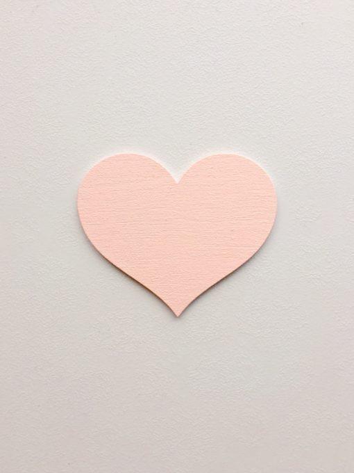 wood stickers hjerte lyserød