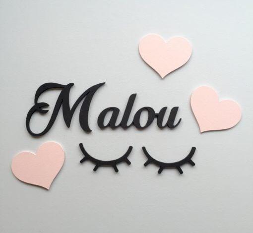 wood stickers hjerter lyserød samt navneskilt