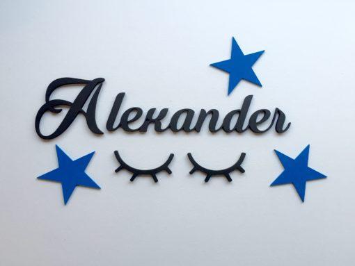wood stickers, stjerner blå samt navneskilt