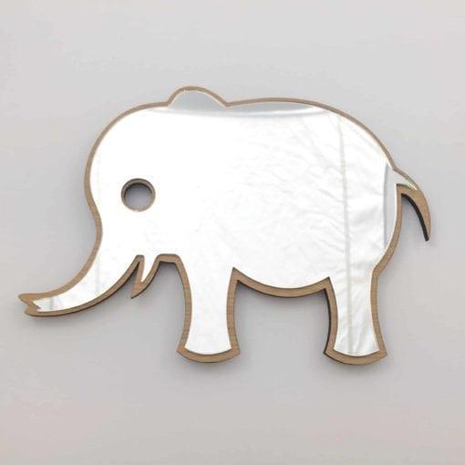 Elefant spejl i egetræ til drenge værelset