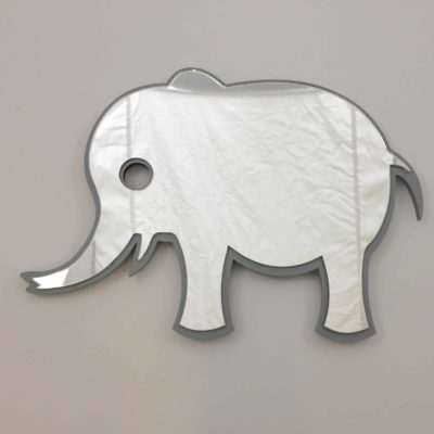 Elefant spejl i grå farve til børneværelset
