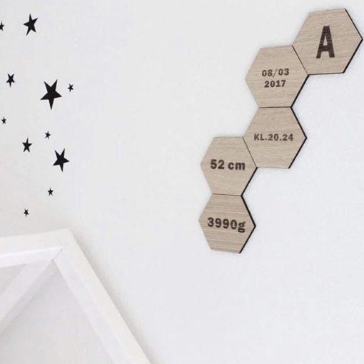 fødselsinformationer graveret på design plade til børneværelset