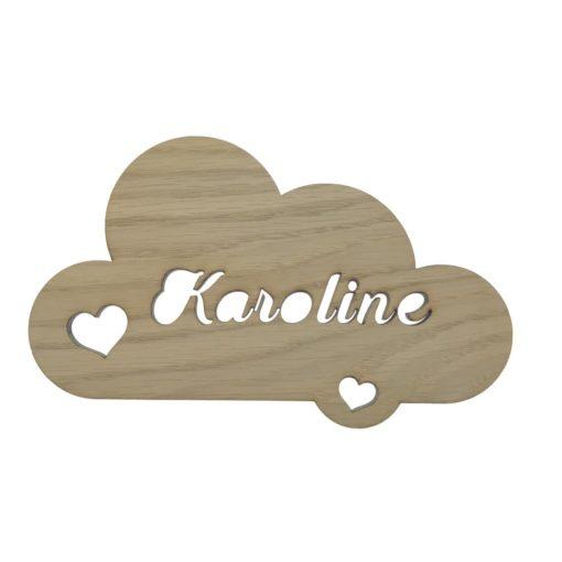Elegant of stilet sky navnskilt med hjerte samt navn skåret direkte i egetræsfiner