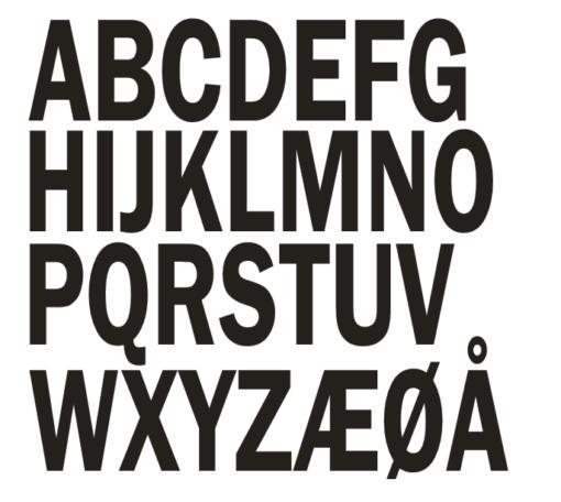 Se hvilken bogstaver du kan få på din design plade