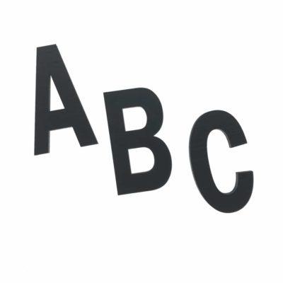 Alfabetet i sort - 10 cm høje