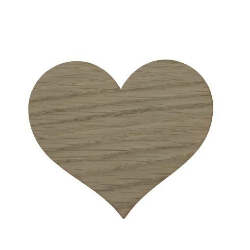 Børneknage i egetræsfiner formet som et hjerte