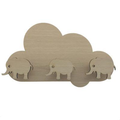 Venstre vendt sky knagerække med elefanter til børneværelse