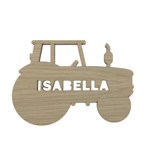 Traktor navneskilt til pigeværelset i egetræsfiner