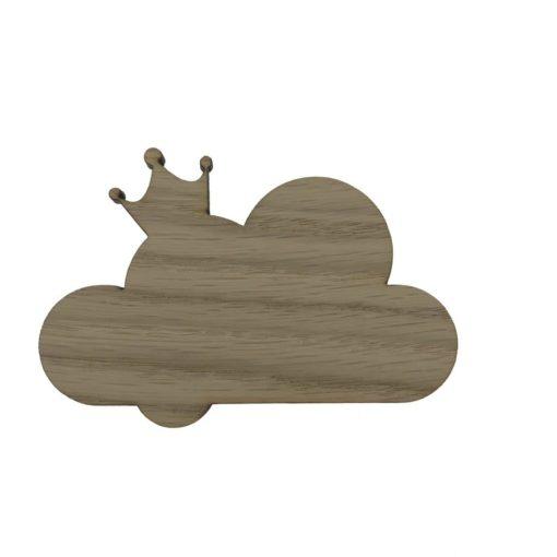 Børneknage formet som en sky med en krone på toppen