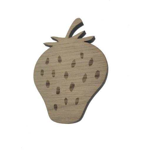 6 mm tyk egetræsfiner skåret og graveret som et jordbær