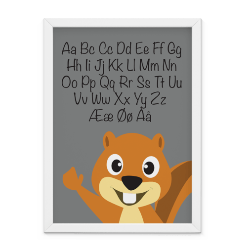 Grå ABC-plakat med egern