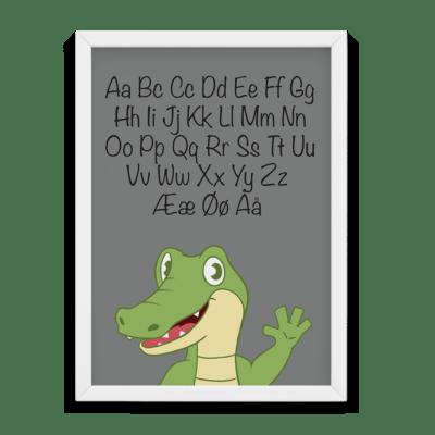 ABC krokodille plakat - Grå