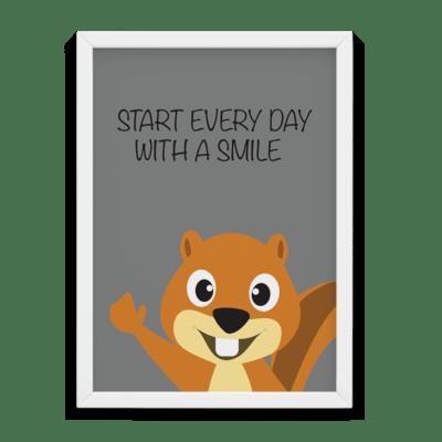 Egern smile every day plakat til børne værelset