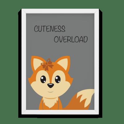 Børne plakat i grå med ræv cuteness overload tekst