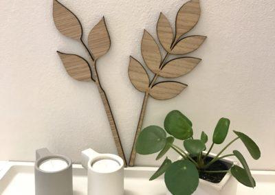 Blade egetræ 27 cm på væg