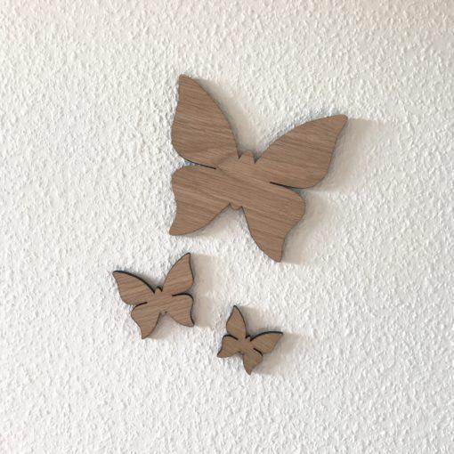 sæt af 3 sommerfugle i forskellige størrelser