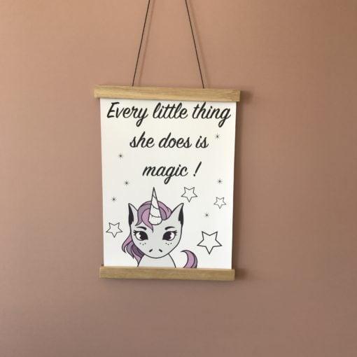 Smuk enhjørning plakat til pigeværelse