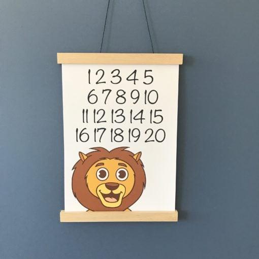 plakat med løve til drengeværelse 1-20 tal