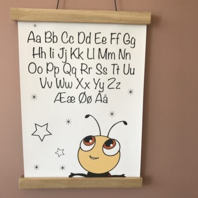 alfabet plakat med mariehøne