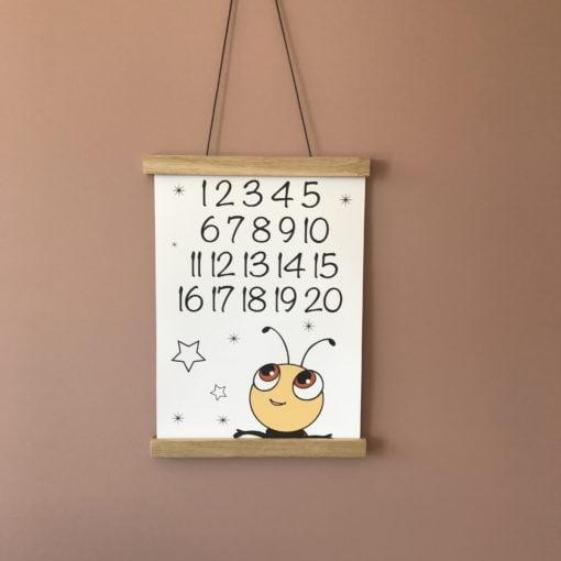 mariehøne plakat med tal 1-20