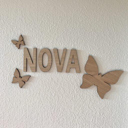 3 stk sommerfugle til væg, egetræ