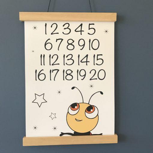 Mariehøne med tal 1-20 plakat til børn