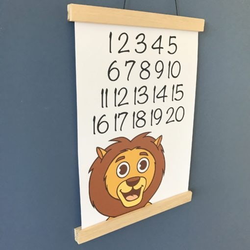 tal plakat til børn med løve 1-20