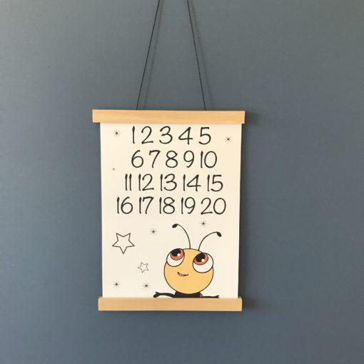 Mariehøne plakat til pigeværelse med tal