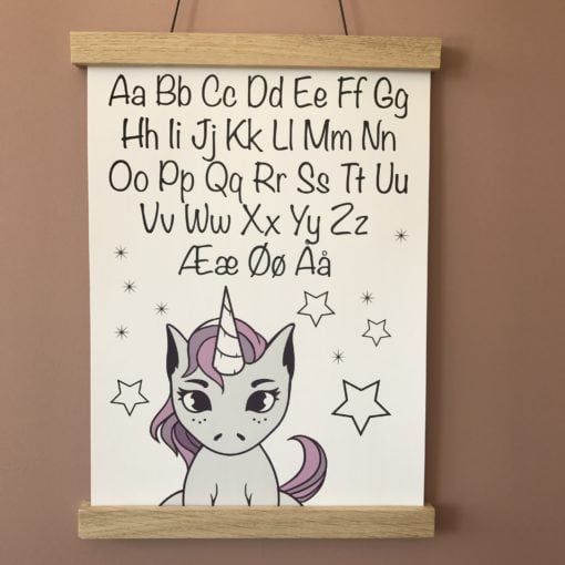 enhjørning alfabet hvid plakat A4