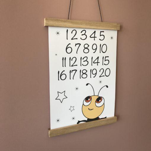 Mariehøne plakat til børneværelse