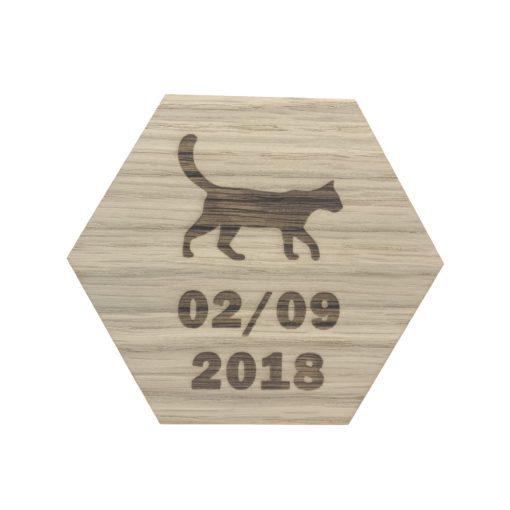 design plade med kat og dato