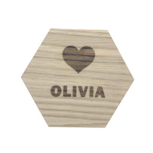 Design plade med hjerte og navn