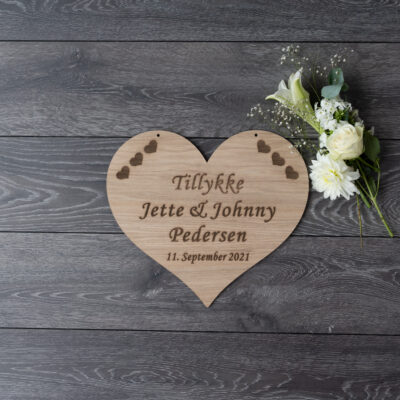 Bryllupsskilt til æresport - hjerte af eg