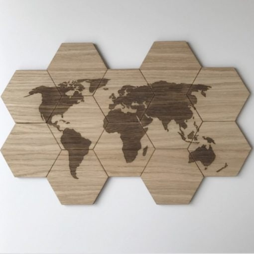 12 design plader med verdenskort i træ