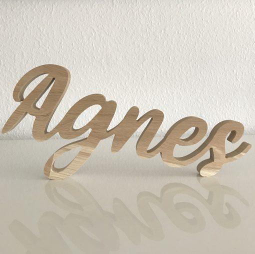 Pige navneskilt Agnes egetræ